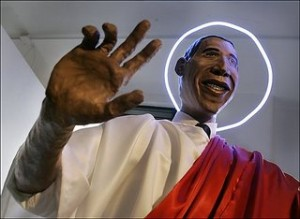 <b>Obama in papier mache by art student</b>
