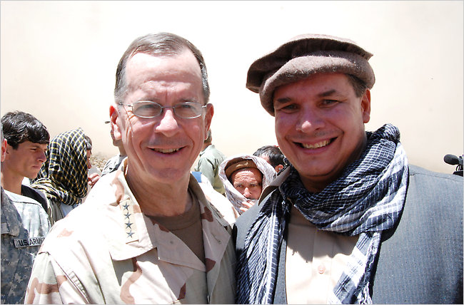 The Chairman of the Joint Chiefs of Staff Admiral Mike Mullen joined Greg Mortenson at the opening of his latest of more than 130 mostly girl schools he has built in Afghanistan and Pakistan, as the US Army turns to &quot;Three Cups of Tea&quot; as its latest manual on how to achieve victory in Afghanistan ie leave without the Taliban taking over.