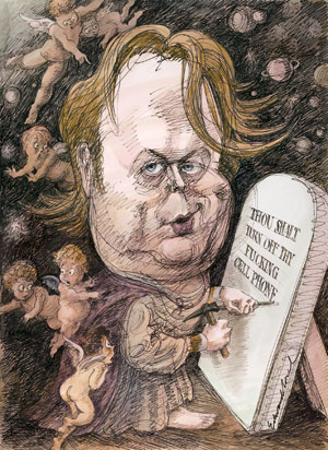 Christopher Hitchens by Sorel - disrespectful of the religious, and even the gods, yet leading their congregation towards Life rather than Heaven