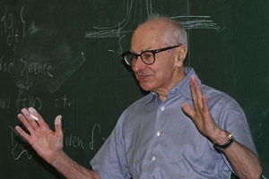 Professor Serge Lang lecturing for Math Club at the Louisiana State University in Baton Rouge, Louisiana, on March 8, 2004. Photograph by Bogdan Oporowski.